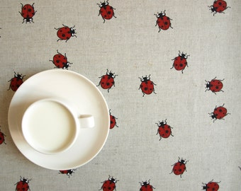 Linen tablecloth natural beige grey fun red ladybugs , also table runner napkins , pillow , curtains available,eco GIFT