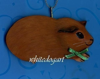 Handpainted Red/Brown Guinea Pig Christmas Ornament