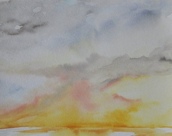 Ocean Sunset Beach art watercolor painting, coastal art