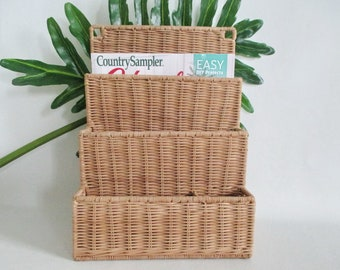 Letter Mail Paper Magazine Holder Bamboo Wicker Rack Wall Hanging
