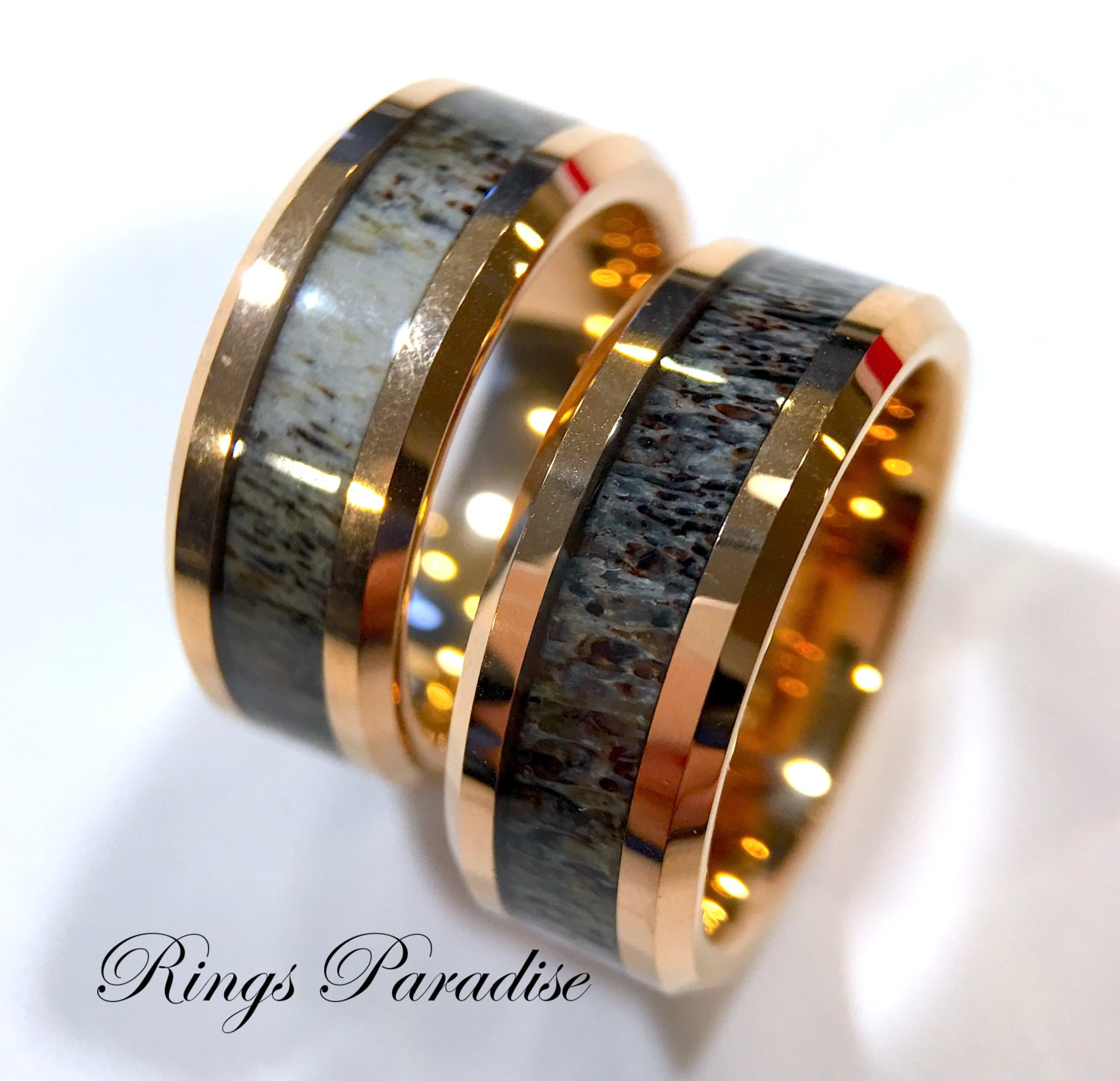 and band wedding divided by ivory bands s antler men mens dark elk rings inlays products tooth walnut metal