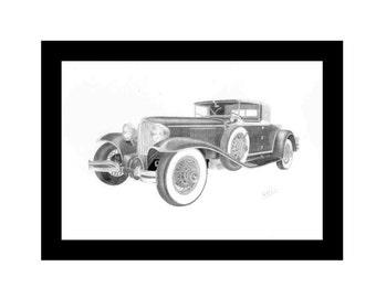 Car art pencil drawing of a 1929 Cord L-29