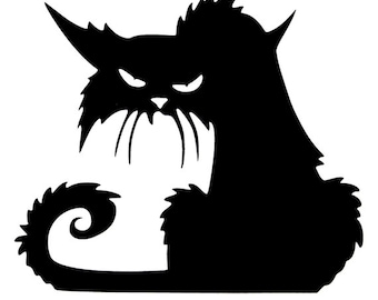 Creepy Black Cat Vinyl Decal