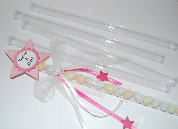 clear plastic magic wand tubes with caps qty 10 use for