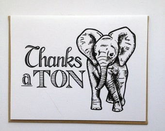 Thanks a TON - Hand Lettered Greeting Card