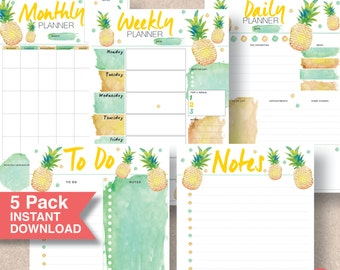 Printable Planner Inserts 5 Pack - Summer Tropical Pineapple. Monthly, Weekly, Daily, To Do, Notes - A5, A4, & Letter. Monday Start | #602