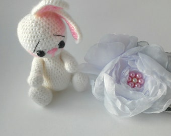 Bunny knitted handmade toys white hare