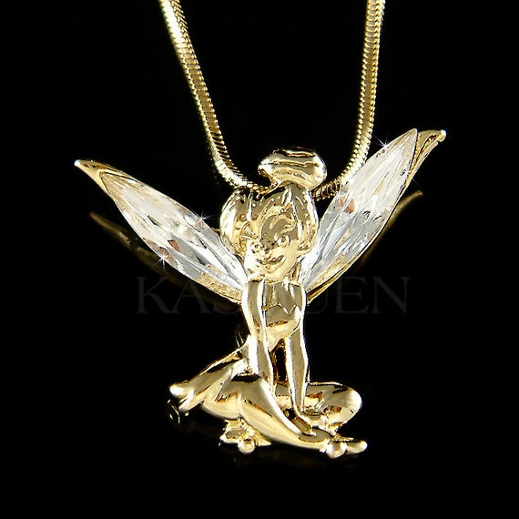 Gold tone swarovski crystal fairy tinkerbell tinker bell angel gold tone swarovski crystal fairy tinkerbell tinker bell angel wings charm pendant necklace jewelry best friend bff girls christmas gift new aloadofball Images