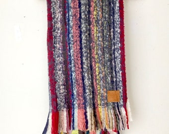 MOHAIR Throw Blanket /  Fringe BoHo  Mohair Throw Blanket / Wool Stadium Blanket