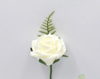 Artificial Wedding Flowers, Ivory Foam Rose Buttonhole