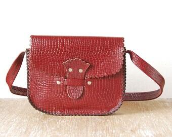 Vintage Leather Handbag, Vintage Handmade Small Shoulder Bag, Bordeaux Leather Handbag, Leather Teen Purse