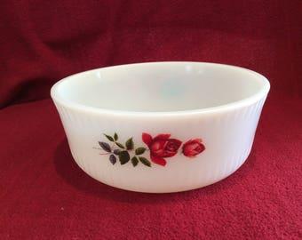 "Pyrex JAJ June Rose Souffle Dish 6 3/4"" diameter circa 1960"