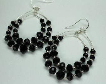 Black Crystal Silver Hoop Earrings, Double Hoop Earrings, Bohemian Style, Thin Delicate Hoop Earrings