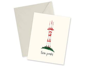 "Twin Peaks, Sutro Tower, San Francisco, Blank Notecard, Envelope, California Souvenir, Sentimental Gift, For Her, For Him, 4.25"" x 5.5"""