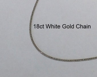 18ct 18K 750 Solid White Gold Chain Necklace for Pendant Jewellery