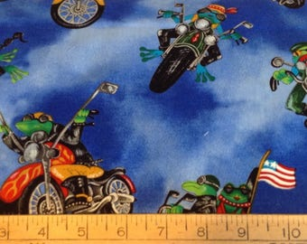 Frogs on motorcycles cotton fabric by the yard