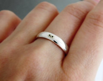 Sterling silver band ring Infinity, Gold infinity