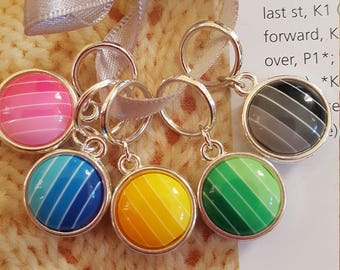 5 large Knitting stitch markers... Brights