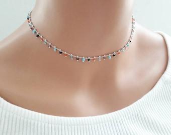 Beaded chain choker,beads choker,muliti color beads choker,beaded necklace,delicate choker,dainty choker,silver choker,crystal choker