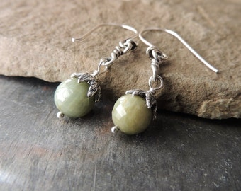 Quartz Earrings, Artisan Jewelry, Handcrafted Silver, Faceted Gemstone Earrings, Cats Eye Quartz, Urban Chic Jewelry, Green Earrings, Rustic