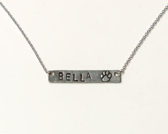 Personalized stamped pet necklace, hand stamped necklace, customized necklace, pet necklace, silver pendant necklace, stamped necklace