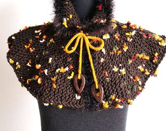 Butterflies Brown Color Chunky Knitted Woodland Capelet Collar Faux Fir Trim Cowl Gaiter with Mustard Yellow Cord Ties and Wooden Beads
