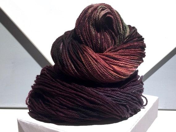 "Sock yarn, fingering weight, handpainted yarn, ""Dark Forest"" shawl yarn sock weight: Wine, red violet, brown, green, pink, rust, salmon"