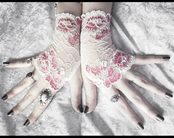 Lalaith Lace Fingerless Gloves - Pale Ivory Cream Metallic Rose Red Floral - Wedding Gothic Regency Goth Bridesmaid Fetish Woodland Mori Tea
