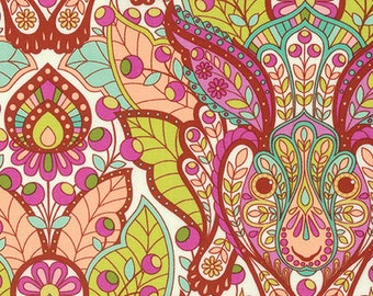 The Hare in Orange Crush   PWTP084 - Tula Pink  SLOW and STEADY - Free Spirit Fabric - By the Yard