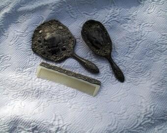 Vintage silverplate dresser set