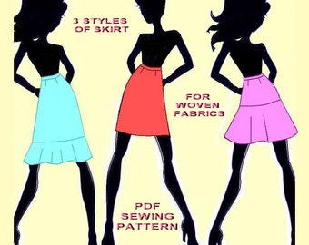 PDF Skirt Sewing Pattern-3 in 1-European Sizes 34,36,38,40,42-US Sizes 2,4,6,8,10-pencil,flounced hem and circle skirt with hip yoke