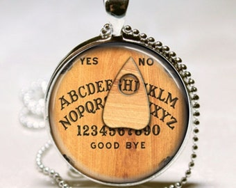 Vintage OUIJA GAME BOARD Seance Wicca Goth Gothic Halloween Gift Altered Art Charm Necklace