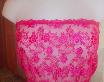 Bandeau top, pink lace Camisole size 38-40-40-42 23 cm in length.