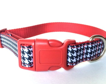 White and Black Houndstooth Dog Collar - Adjustable Striking Red Contrast