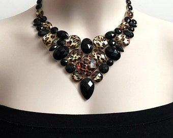 leopard bib necklace - leopard and jet black color rhinestone bib necklace