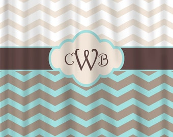 Personalized Shower Curtain - Chevron and Vintage Dots & Checks- Any Colors - Your Personalization and Accents