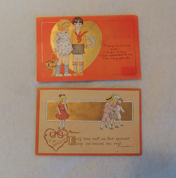 2 Vintage Valentine Postcards.. Boy Girl Children embossed & Gold.. 1910