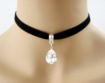 Black Velvet choker, Velvet Black Choker necklace, Clear crystal 10mm BLACK Velvet Ribbon Choker Bridesmaid gift, bridesmaid choker necklace