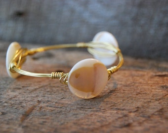 Natural Shell Wire Wrapped Bangle