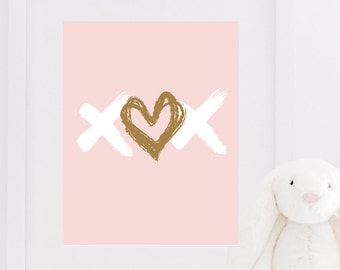 Nursery Heart Print XOX Love Girl Bedroom Poster Home Decor