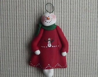 Snowgirl 1 ~ hand sculpted polymer clay ornament