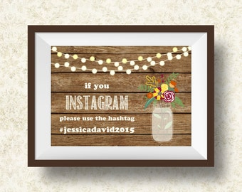 Rustic Wedding Instagram Sign Printable, Instagram Wedding Hashtag Sign - Rustic Wedding Sign, Printable Instagram Sign, Digital File