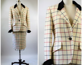 Vintage Hermes Suit Womens Power Suit Off White Black and Red Plaid Wool with Black Accents Size 42 SMedium