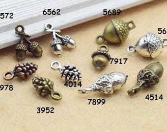 50pcs Mixed with antique silver bronze ancient bronze pine cone DIY jewelry, A0086