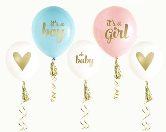 Gender Reveal Baby Shower Balloons (set of 3) //  Baby Reveal // Baby Gender Reveal Shower Ideas // Reveal Party // Pink and Blue Party
