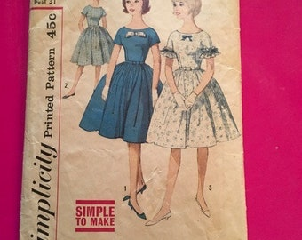 Vintage Simplicity Pattern 4322 Sub-Teens' One Piece Dress 1950's Size 12 Bust 31