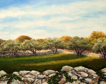 Olive trees painting Print, Landscape painting Print, Trees acrylic painting art Print