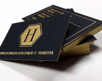 Black Business Cards - 700gsm - Foil on double sided (Matte Gold) +Edge