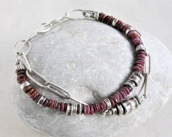 Raw ruby bracelet,  oxidized sterling silver chain, multi strand bracelet, oxidized silver bracelet, handmade chain, made to order
