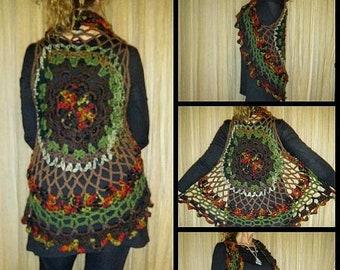 Ladies Crochet boho mandala Circle vest medium / large nature colors green brown rust gold